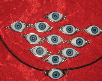 Wholesale  Lot   Of A Dozen Blue  Eyeball  Pendants