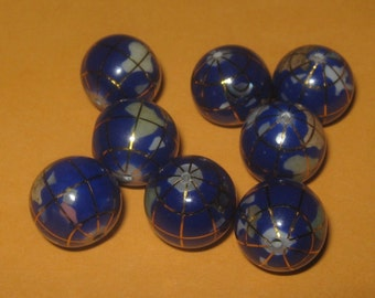 Wholesale Lot  Of  Eight  12MM Inlay Lapis  Color Globe  Gemstone  Beads