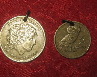 Authentic Vintage Greece Alexander The Great and Athena Owl Coin Pendants