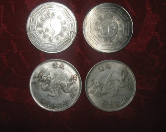 Wholesale Lot Of 4 Large Vintage Ying Yang Dragon Coins