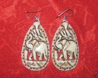 Unusual  Hand  Carved  Bone Elephant  Earrings