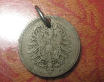 VINTAGE 1800's German Eagle Coin Pendant Necklace