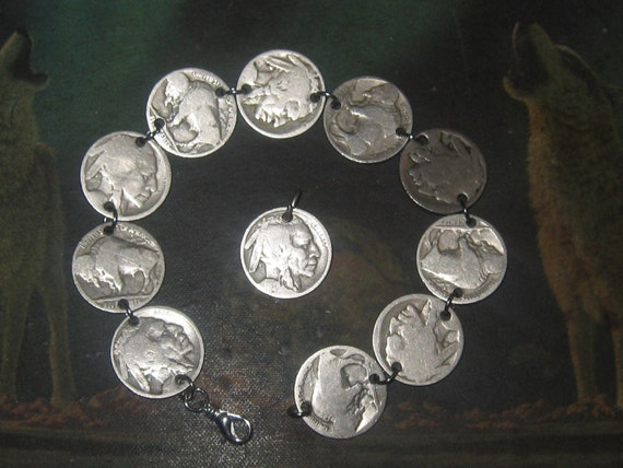 Authentic Vintage  Buffalo Nickel Anklet Pendant  Set