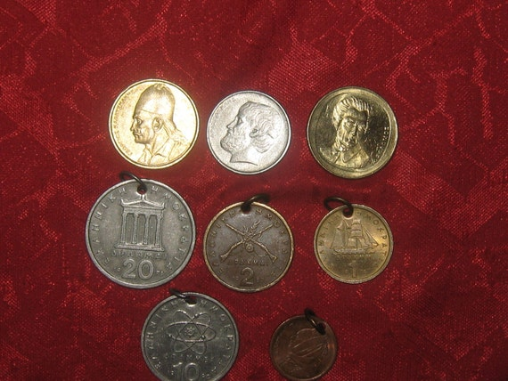 Wholesale Lot  Of  5- Vintage   Authentic  Greece  Coin Pendants 3 COLLECTIBLE COINS