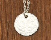 Hammered Silver Disc Circle Charm Necklace- Small Delicate Sterling Necklace