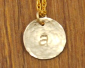 Tiny Initial Charm Necklace - Gold Custom Personalized Hammered Monogram Handstamped Necklace