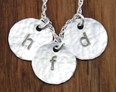 Handstamped 3 Disc Mommy Mom Initial Charm Necklace - Sterling Silver Custom Personalized - Childrens Names Initials