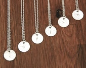 Bridesmaid Jewelry Sets - Bridesmaid Necklace Initial Silver Disc Set Of 6 Custom Personalized
