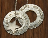 Inspirational Shakespeare Quote Sterling Silver Circles Necklace - Poetry Words Necklace