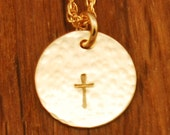 Gold Cross Necklace - Small Sol Cross Disc Hammered