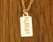 Personalized Name Mommy Necklace - Custom Handstamped Tiny Gold Tag