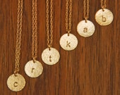 Bridesmaid Gold Monogram Initial Date Necklace Set - Custom Order For Xinrong