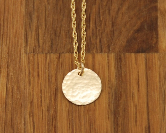 Gold Circle Necklace - Small Disc Charm Delicate Dainty Tiny Hammered Necklace