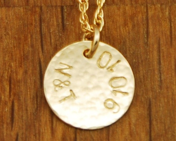 Custom Couple Initials Gold Disc Necklace - Personalized 14K Filled Couple Special Date Necklace