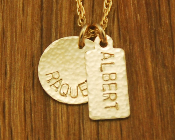 Personalized Handstamped Mom Gold Charm Necklace - Custom Kids Childrens Names