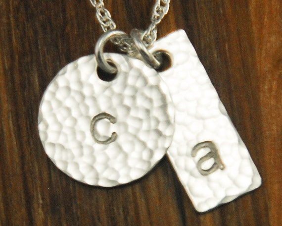 Silver Initial Monogram Disc Necklace - Custom Personalized Sterling Tag and Disc Hammered 2 Charm Necklace