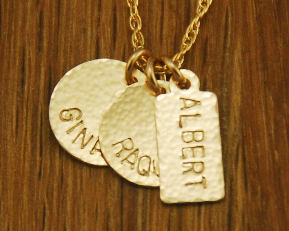 Personalized Handstamped Mom Gold Charm Necklace Children