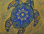 small stylized turtle painting - Blue