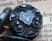 Set of 4 Antique Black Glass  Buttons - Mourning Buttons - Victorian Buttons Jet Buttons