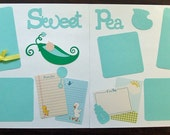 Baby Boy Scrapbook Page Kit SWEET PEA 2-12 x 12 pages ready to assemble