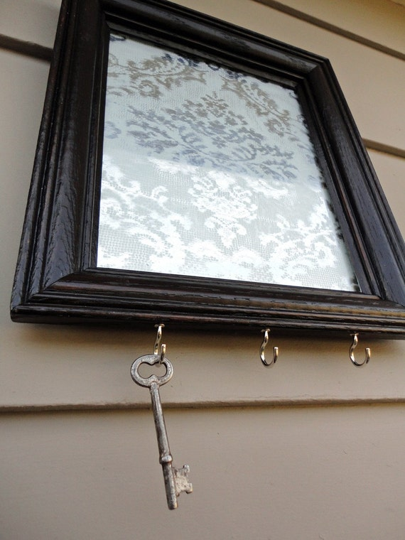 Items similar to silver mirror key holder with damask lace for Mirror key holder