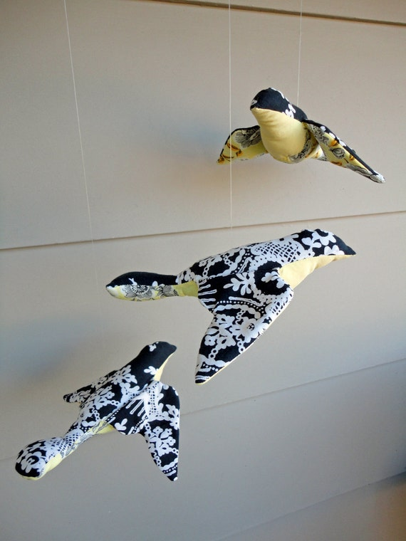fabric birds - hanging set of 3