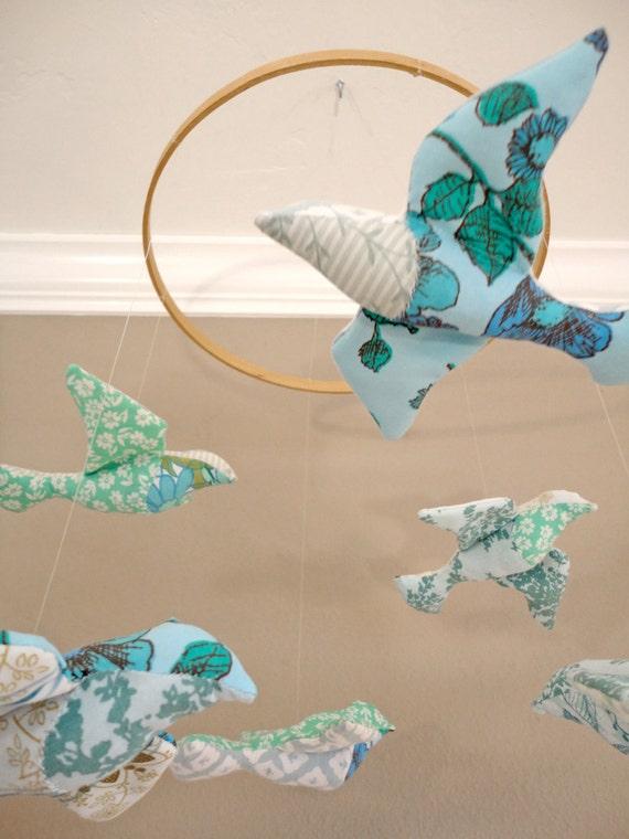 FREE SHIPPING - bird mobile - turquoise blue vintage fabrics