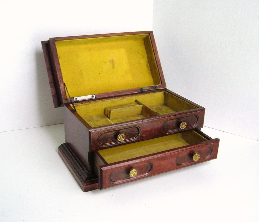 Best Wooden Jewelry Boxes: Vintage Wooden Jewelry Box With Drawer And Flip Top