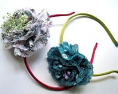 Charming fabric headband with flower liberty vibrant colors, two colors