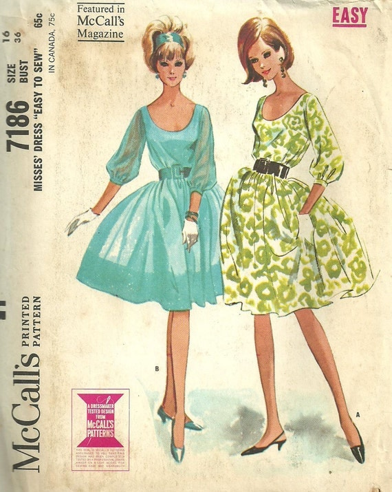 Vintage Sixties Sewing Pattern from McCalls 7186