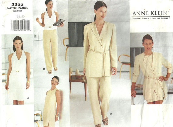 Vogue 2255 / Out Of Print Designer Sewing Pattern By Anne Klein /Pants Dress Skirt Jacket Suit Wardrobe