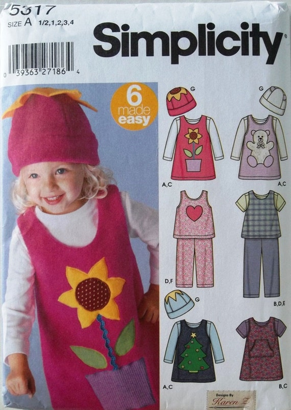 Girls Jumper, Top, Pants & Hat Sz  6mo to 4 Simplicity 5317 uncut sewing pattern