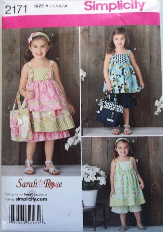 Girls Dress, Top, Ruffled Pants, Bag & Hair Accessory Sz 3 to 8 Simplicity 2171 uncut sewing pattern