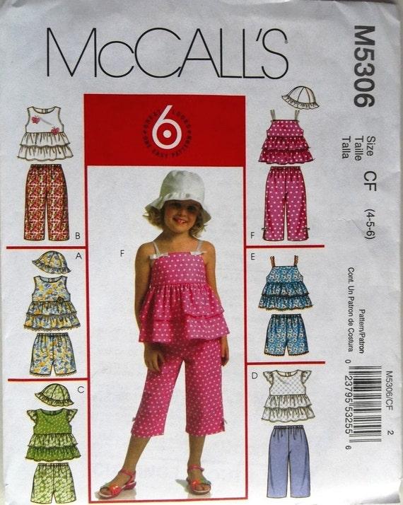 Girls Tops, Shorts, Capri Pants, Hat McCalls 5306 uncut pattern Sz 4-5-6