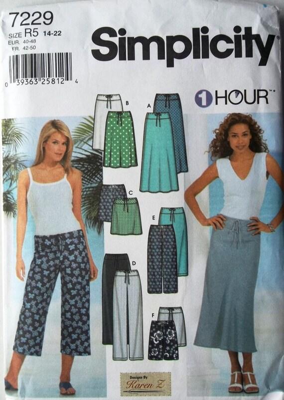 Ladies Skirts & Pants 1 Hr Sz 14 to 22 Simplicity 7229 uncut sewing pattern