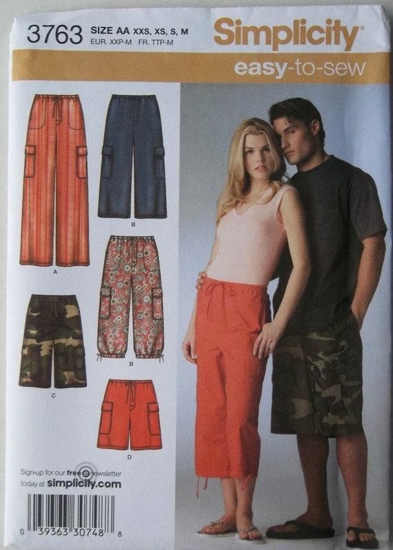 Cargo Pants & Shorts Sz Xxs- M Unisex Simplicity 3763 uncut sewing pattern