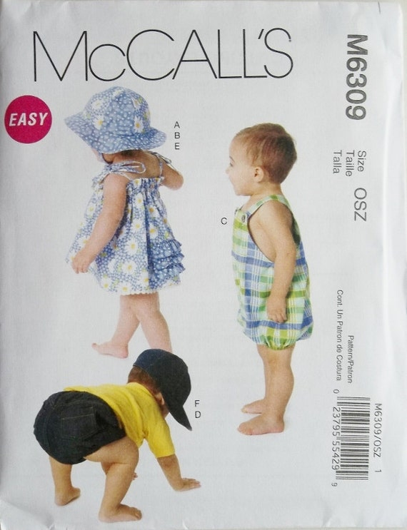 Infants Dress, Romper, Diaper Cover & Hat Sz Sm to Xlg McCalls 6309 uncut pattern