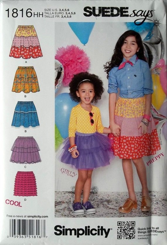 Little Girls Easy Pull On Skirts Sz 3 to 6 Simplicity 1816 uncut sewng pattern