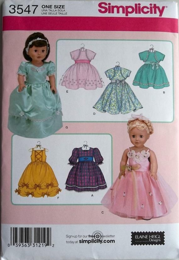 18 inch Doll Dresses, Formals, & Bolero Simplicity 3547 uncut pattern