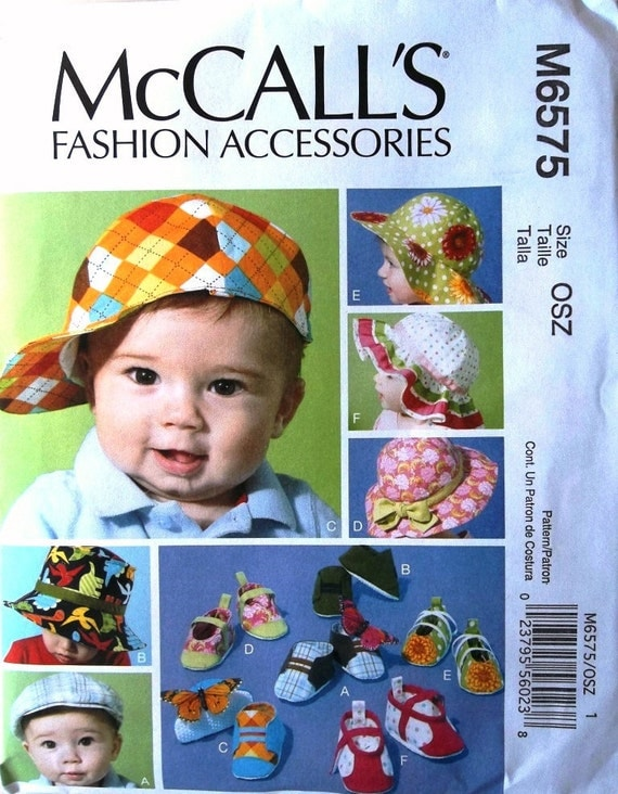Infant Hats & Soft Shoes Sz S to XL McCalls 6575 uncut pattern