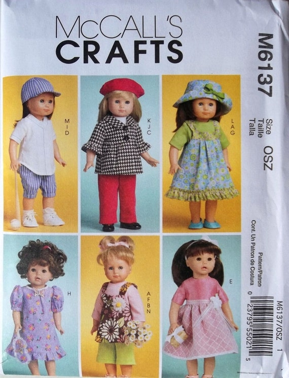 18 inch Doll Clothes, Dress, Pants, Coat, Hats & More McCalls 6137 uncut sewing pattern
