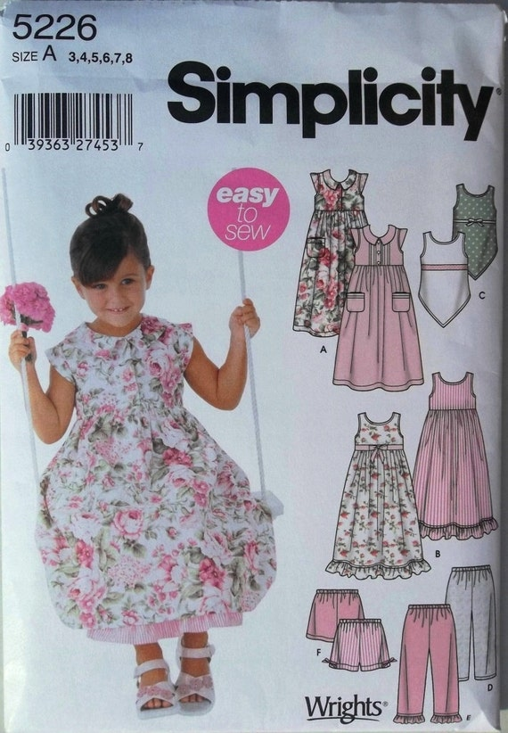 Girl's Dress, Shorts, Pants, & Top Sz 3 to 8 Simplicity 5226 uncut sewing pattern
