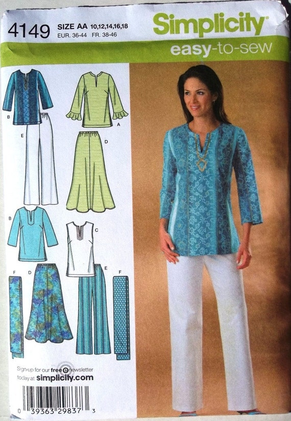 Pants, Skirt, Tunic Top & Scarf Sz 10 to 18 Simplicity 4149 uncut sewing pattern