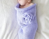 Knit Newborn Baby Cocoon, Gorgeous Photography Prop, Lavender With Rose, ON SALE