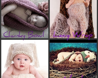 KNITTING PATTERNS Photography Props, 4 Patterns Newborn Chunky Bowl, Lacy Wrap, Two Tassel Hat, Nest. Instant Download