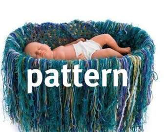 Fringe Blanket KNITTING PATTERN, Baby Basket Liner, Newborn Photography Prop, Instant Download