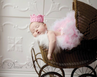 Pink Baby Crown, Photography Prop Crocheted for Princess Girls