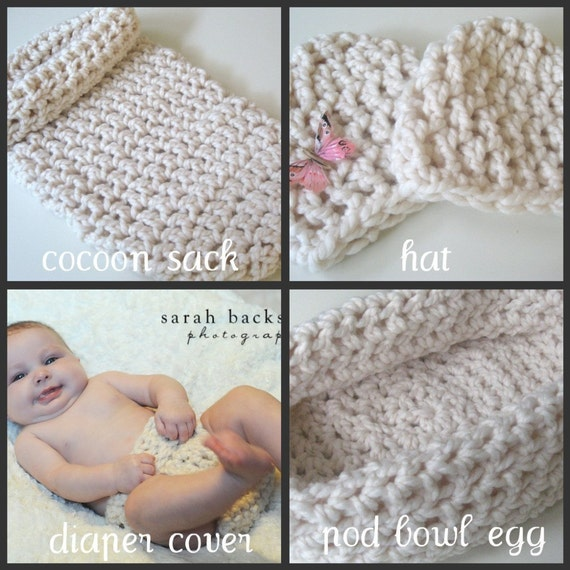 Baby Prop CROCHETING PATTERNS, Four Patterns, Cocoon Sack, Hat, Diaper Cover, Pod Bowl Egg, Instant Download