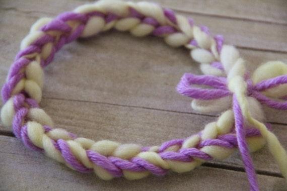 Crochet Newborn Headband made from Thick and Thin Merino in Lavender and Yellow