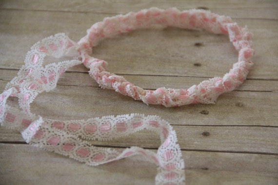 Lace Baby Headband Crocheted in Pink. 12 to 18 months